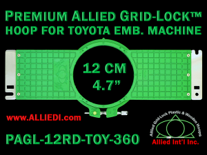 12 cm (4.7 inch) Round Allied Grid-Lock (New Design) Plastic Embroidery Hoop - Toyota 360