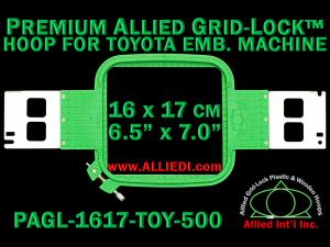 16 x 17 cm (6.5 x 7 inch) Rectangular Premium Allied Grid-Lock Plastic Embroidery Hoop - Toyota 500