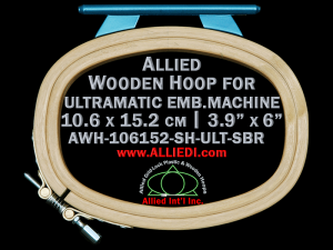 10.6 x 15.2 cm (3.9 x 6.0 inch) Oval Allied Wooden Embroidery Hoop, Single Height - Ultramatic 123 mm Short Bar Type Flat Table
