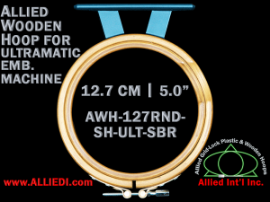 12.7 cm (5.0 inch) Round Allied Wooden Embroidery Hoop, Single Height - Ultramatic 123 mm Short Bar Type Flat Table