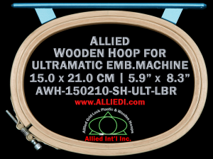 15.0 x 21.0 cm (5.9 x 8.3 inch) Oval Allied Wooden Embroidery Hoop, Single Height - Ultramatic 242 mm Long Bar Type Flat Table