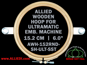15.2 cm (6.0 inch) Round Allied Wooden Embroidery Hoop, Single Height- Ultramatic 236 mm Short Screw Type Flat Table