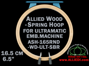 16.5 cm (6.5 inch) Round Allied Wooden Embroidery Hoop, Spring Load - Ultramatic 123 mm Short Bar Type Flat Table