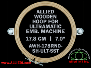 17.8 cm (7.0 inch) Round Allied Wooden Embroidery Hoop, Single Height- Ultramatic 236 mm Short Screw Type Flat Table