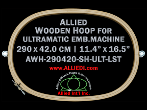 29.0 x 42.0 cm (11.4 x 16.5 inch) Oval Allied Wooden Embroidery Hoop, Single Height - Ultramatic 464 mm Long Screw Type Flat Table