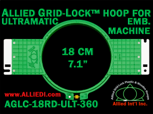18 cm (7.1 inch) Round Allied Grid-Lock (New Design) Plastic Embroidery Hoop - Ultramatic-II 360