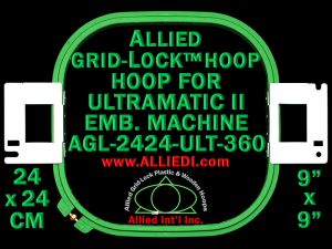 24 x 24 cm (9 x 9 inch) Square Allied Grid-Lock Plastic Embroidery Hoop - Ultramatic-II 360