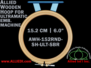 15.2 cm (6.0 inch) Round Allied Wooden Embroidery Hoop, Single Height - Ultramatic 123 mm Short Bar Type Flat Table