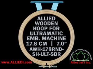 17.8 cm (7.0 inch) Round Allied Wooden Embroidery Hoop, Single Height - Ultramatic 123 mm Short Bar Type Flat Table