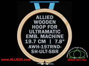 19.7 cm (7.8 inch) Round Allied Wooden Embroidery Hoop, Single Height - Ultramatic 123 mm Short Bar Type Flat Table