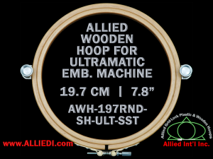 19.7 cm (7.8 inch) Round Allied Wooden Embroidery Hoop, Single Height- Ultramatic 236 mm Short Screw Type Flat Table