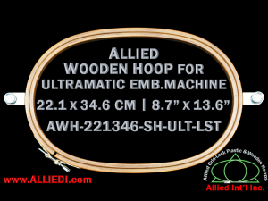22.1 x 34.6 cm (8.7 x 13.6 inch) Oval Allied Wooden Embroidery Hoop, Single Height - Ultramatic 464 mm Long Screw Type Flat Table