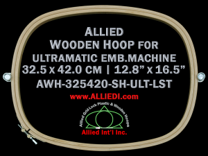 32.5 x 42.0 cm (12.8 x 16.5 inch) Oval Allied Wooden Embroidery Hoop, Single Height - Ultramatic 464 mm Long Screw Type Flat Table