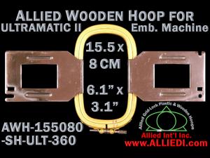 15.5 x 8.0 cm (6.1 x 3.1 inch) Rectangular Allied Wooden Embroidery Hoop, Single Height - Ultramatic-II 360