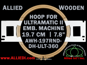 19.7 cm (7.8 inch) Round Allied Wooden Embroidery Hoop, Double Height - Ultramatic-II 360