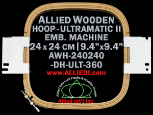 24.0 x 24.0 cm (9.4 x 9.4 inch) Rectangular Allied Wooden Embroidery Hoop, Double Height - Ultramatic-II 360