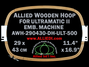 29.0 x 43.0 cm (11.4 x 16.9 inch) Rectangular Allied Wooden Embroidery Hoop, Double Height - Ultramatic-II 500