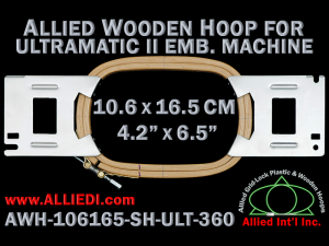 10.6 x 16.5 cm (4.2 x 6.5 inch) Rectangular Allied Wooden Embroidery Hoop, Single Height - Ultramatic-II 360