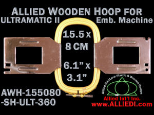 15.5 x 8.0 cm (6.1 x 3.1 inch) Rectangular Allied Wooden Embroidery Hoop, Single Height - Ultramatic-II 360
