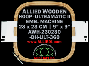 23.0 x 23.0 cm (9.0 x 9.0 inch) Rectangular Allied Wooden Embroidery Hoop, Double Height - Ultramatic-II 360