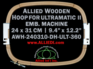 24.0 x 31.0 cm (9.4 x 12.2 inch) Rectangular Allied Wooden Embroidery Hoop, Double Height - Ultramatic-II 360