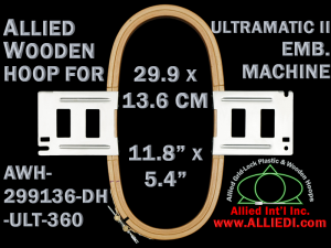 29.9 x 13.6 cm (11.8 x 5.3 inch) Rectangular Allied Wooden Embroidery Hoop, Double Height - Ultramatic-II 360