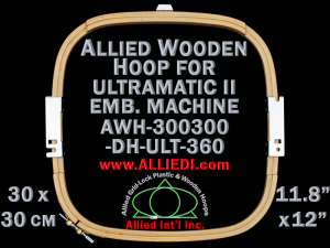 30.0 x 30.0 cm (11.8 x 11.8 inch) Rectangular Allied Wooden Embroidery Hoop, Double Height - Ultramatic-II 360