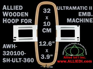 32.0 x 10.0 cm (12.6 x 3.9 inch) Rectangular Allied Wooden Embroidery Hoop, Single Height - Ultramatic-II 360