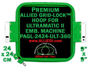 24 x 24 cm (9 x 9 inch) Square Premium Allied Grid-Lock Plastic Embroidery Hoop - Ultramatic-II 360