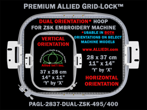 ZSK 28 x 37 cm (11 x 14 inch) Rectangular Premium Allied Grid-Lock DUAL ORIENTATION Embroidery Hoop for 495 mm & 400 mm Sew Fields / Arm Spacings