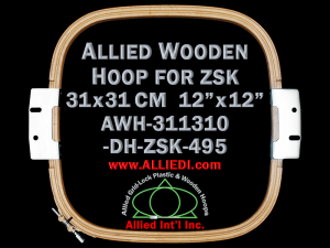 31.1 x 31.0 cm (12.2 x 12.2 inch) Rectangular Allied Wooden Embroidery Hoop, Double Height - ZSK 495