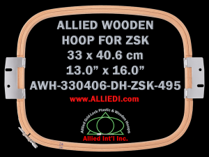 33.0 x 40.6 cm (13.0 x 16.0 inch) Rectangular Allied Wooden Embroidery Hoop, Double Height - ZSK 495