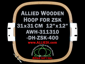 31.1 x 31.0 cm (12.2 x 12.2 inch) Rectangular Allied Wooden Embroidery Hoop, Double Height - ZSK 400