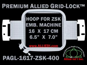16 x 17 cm (6.5 x 7 inch) Rectangular Premium Allied Grid-Lock Plastic Embroidery Hoop - ZSK 400